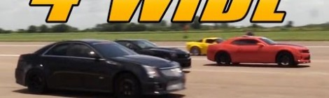4 Wide 1/2 Mile Drag Race